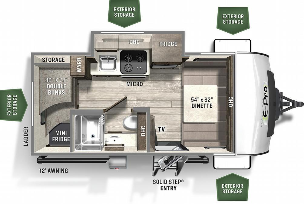 Flagstaff E-Pro 16BH Floor Plan - 2021