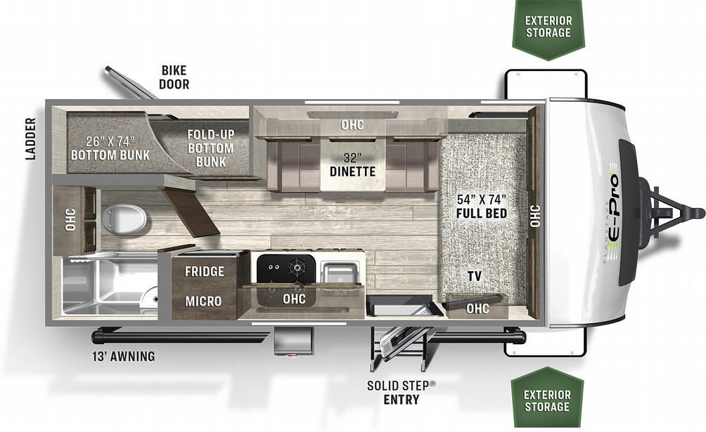 Flagstaff E-Pro 19BH Floor Plan - 2021