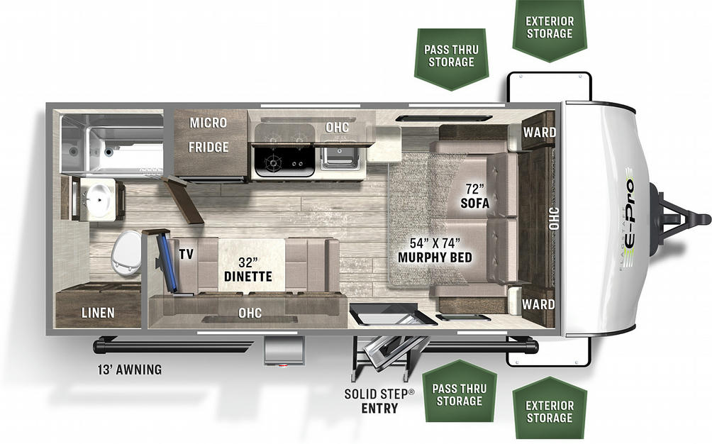 Flagstaff E-Pro 19FD Floor Plan - 2021