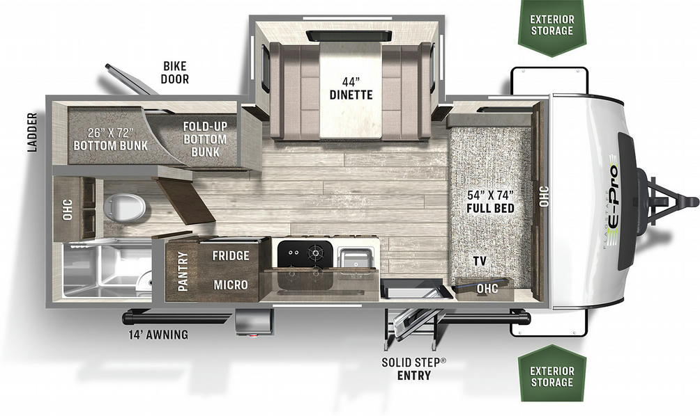 Flagstaff E-Pro 20BHS Floor Plan - 2021
