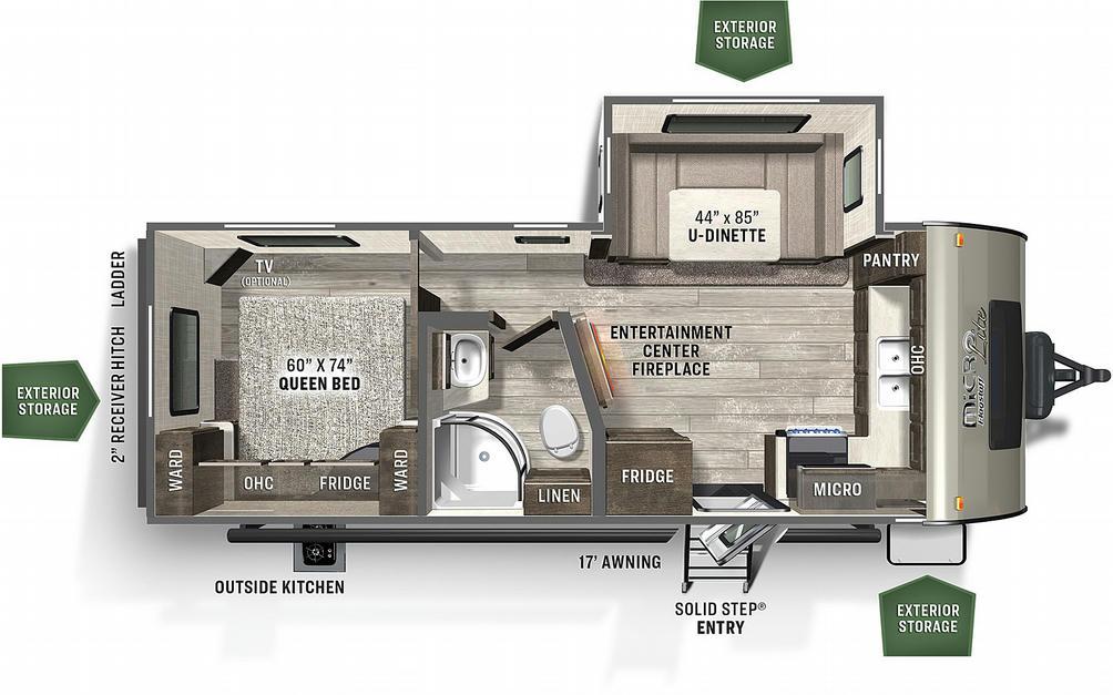 Flagstaff Micro Lite 25FKS Floor Plan - 2021