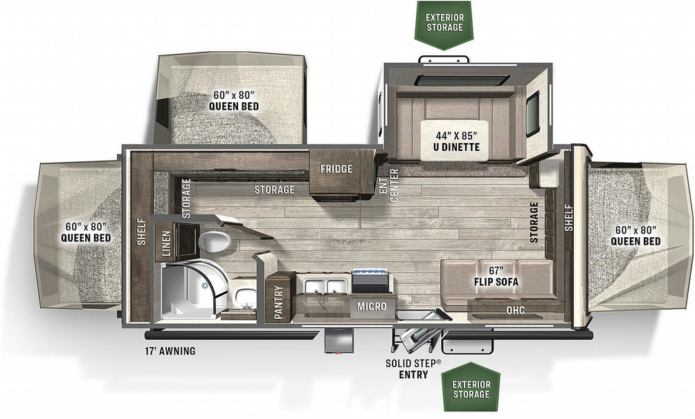 Flagstaff Shamrock 233S Floor Plan - 2021