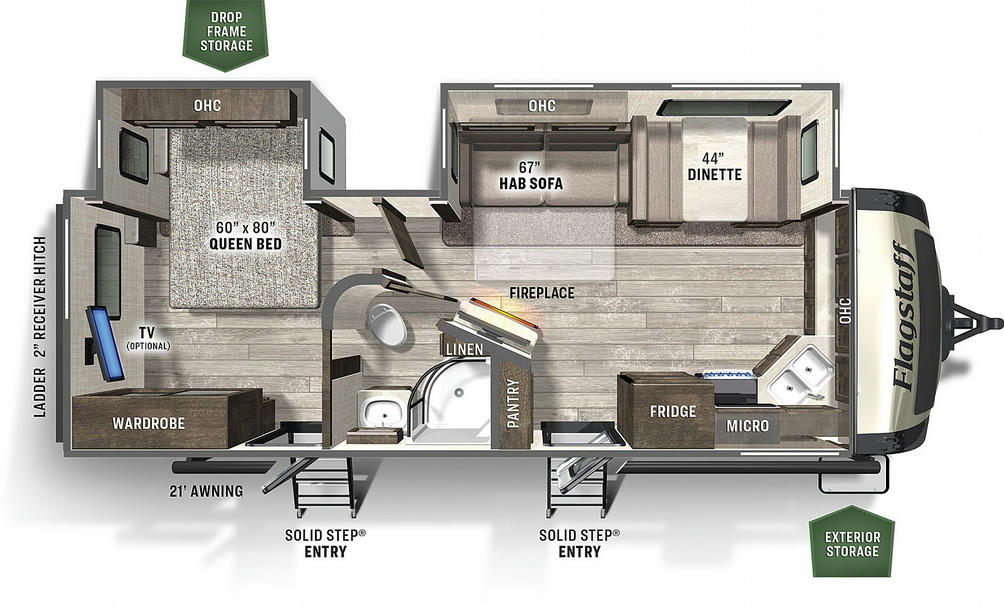 Flagstaff Super Lite 26FKBS Floor Plan - 2021