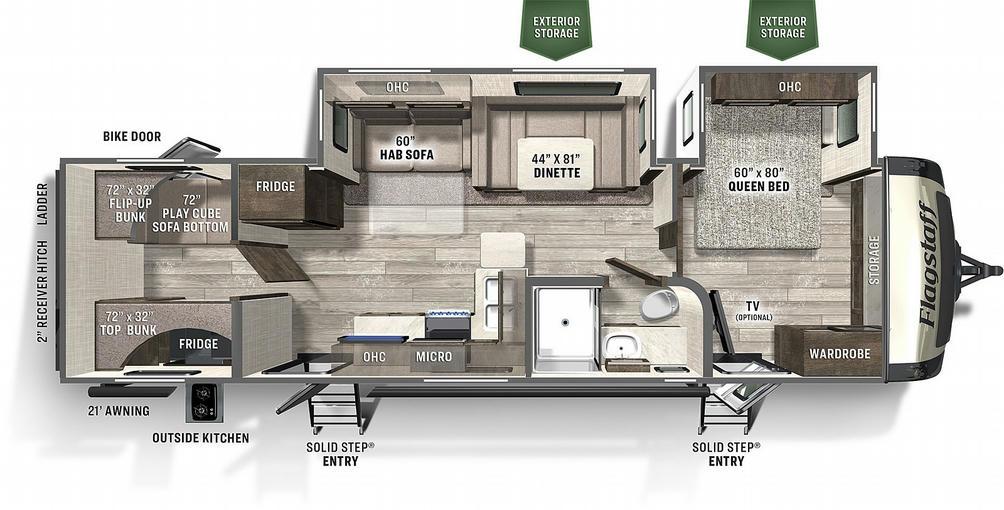 Flagstaff Super Lite 29BHS Floor Plan - 2021