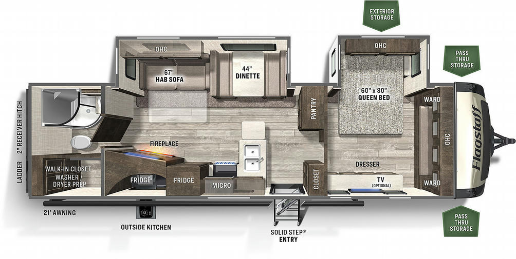 Flagstaff Super Lite 29RBS Floor Plan - 2021