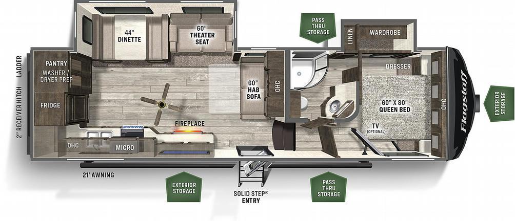 Flagstaff Super Lite 528RKS Floor Plan - 2021