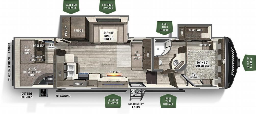 Flagstaff Super Lite 529BH Floor Plan - 2021