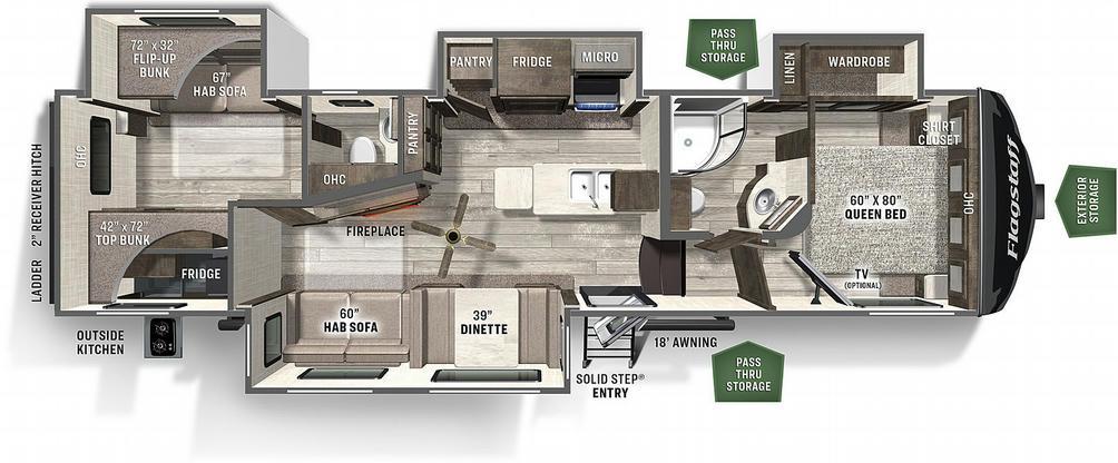 Flagstaff Super Lite 529RBS Floor Plan - 2021