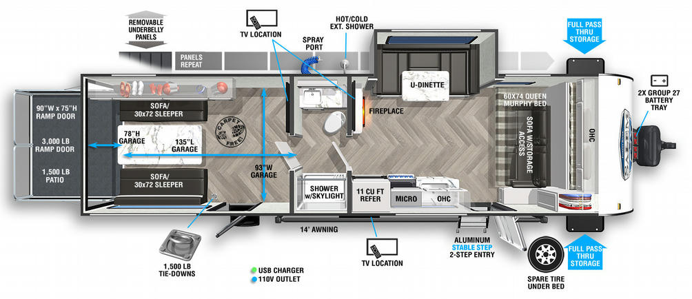 Salem FSX 280RTX Floor Plan - 2021