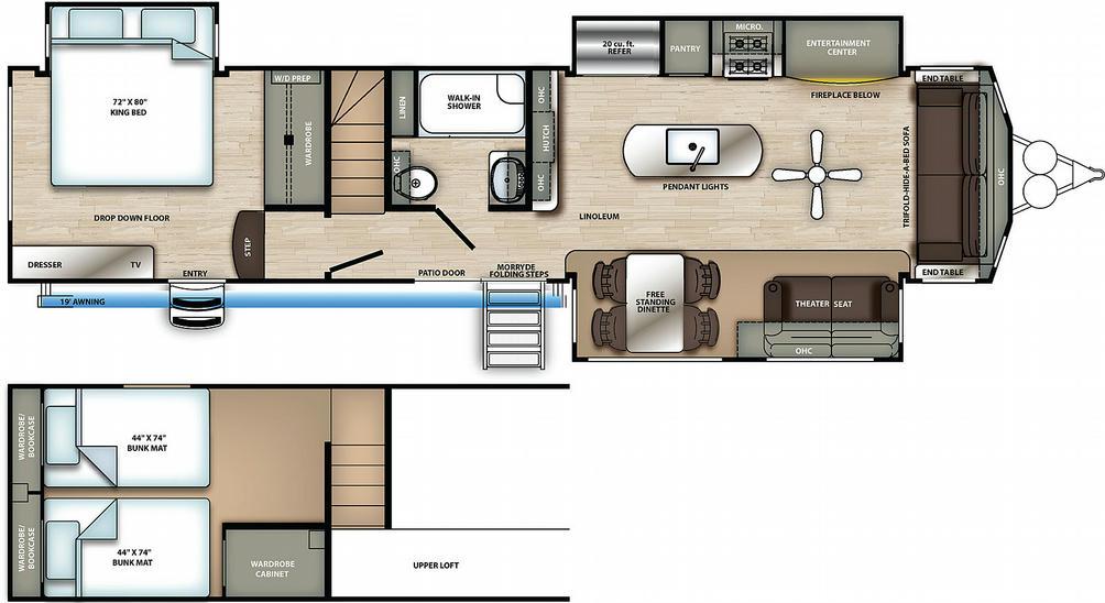 Sierra Destination 399LOFT Floor Plan - 2021