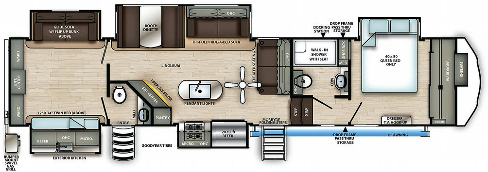 Sierra 384QBOK Floor Plan - 2021