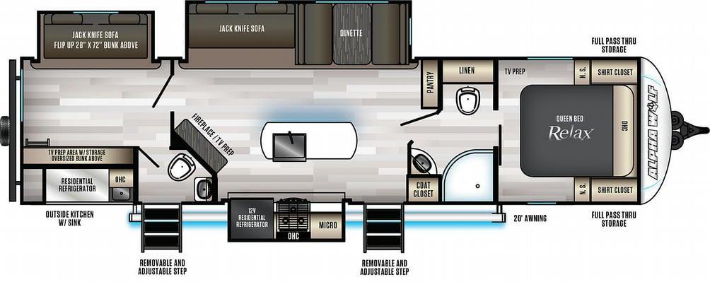 Alpha Wolf 33BH-L Floor Plan - 2021