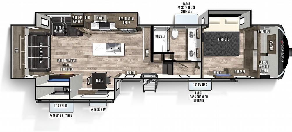 Cardinal Luxury 345RLX Floor Plan - 2021