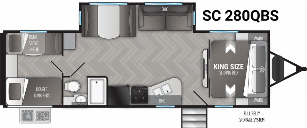 Shadow Cruiser 280QBS Floor Plan - 2021