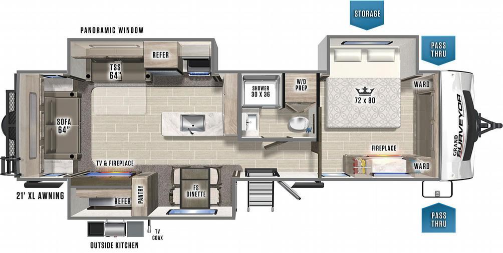 Surveyor Grand 302RLOK Floor Plan - 2021