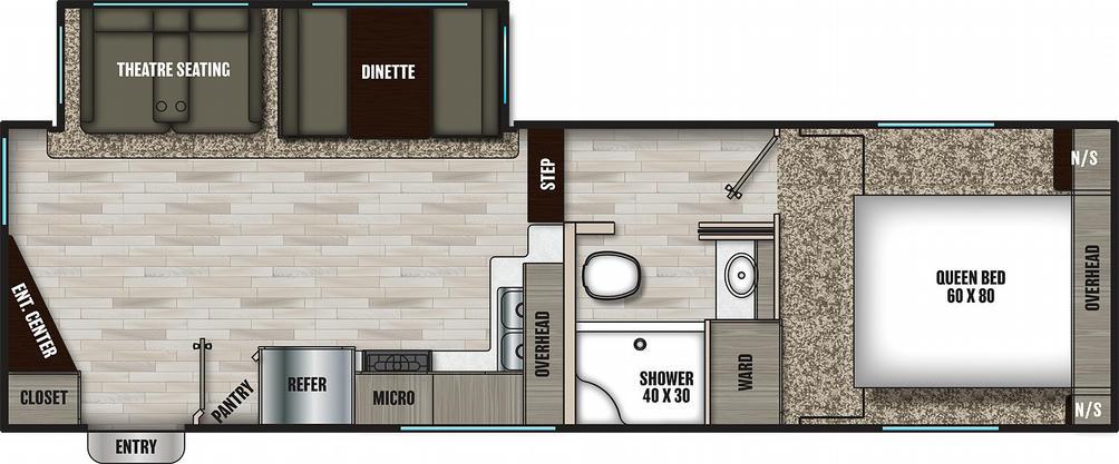 Chaparral Lite 25RE Floor Plan - 2021