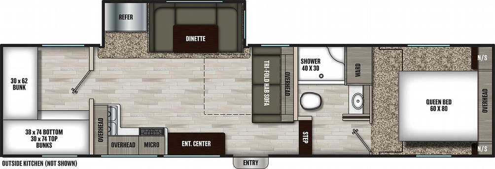 Chaparral Lite 274BH Floor Plan - 2021