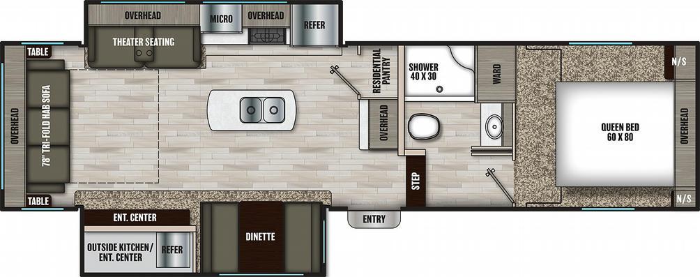 Chaparral Lite 284RL Floor Plan - 2021