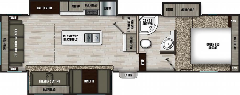 Chaparral Lite 30RLS Floor Plan - 2021