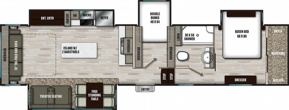 Chaparral 360IBL Floor Plan - 2021