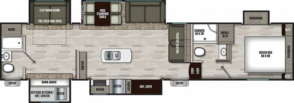 Chaparral 367BH Floor Plan - 2021