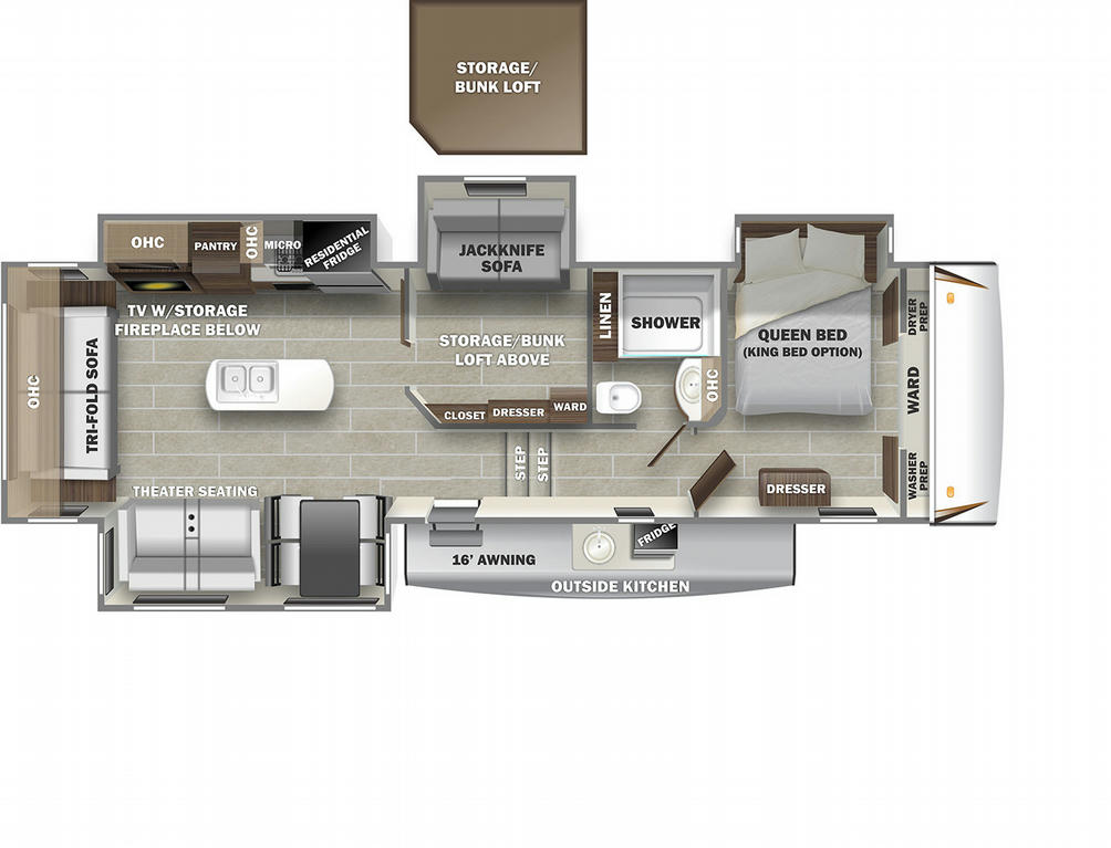 Sabre 36BHQ Floor Plan - 2021