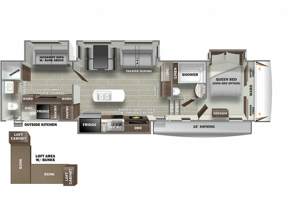 Sabre 38DBQ Floor Plan - 2021