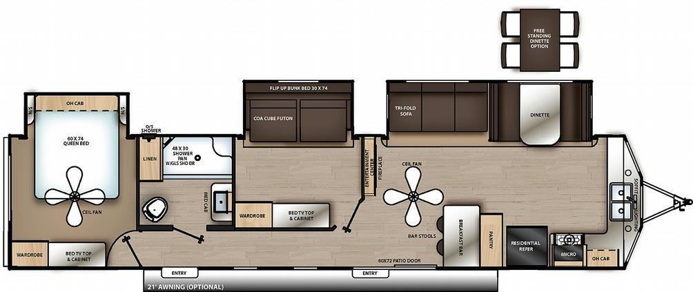 Catalina Destination 39FKTS Floor Plan - 2021