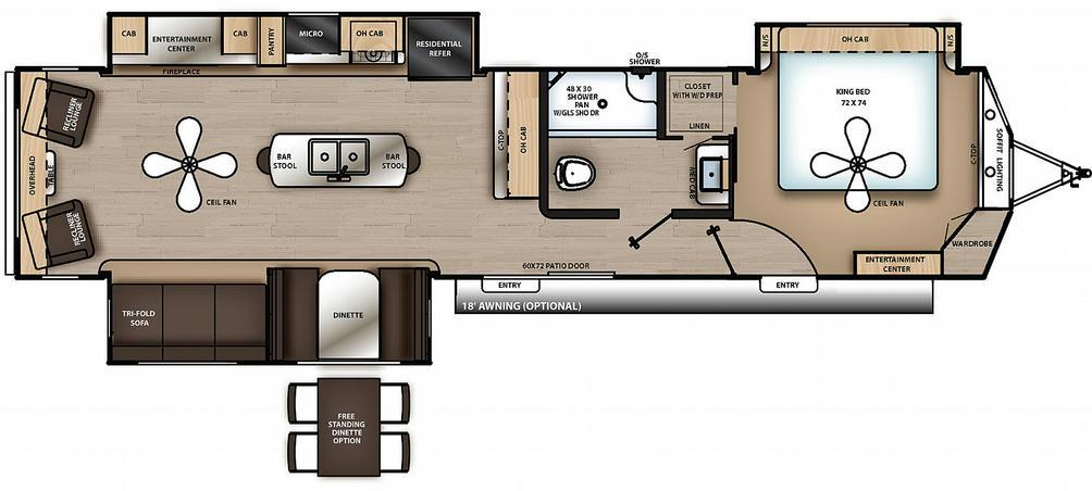 Catalina Destination 39RLTS Floor Plan - 2021