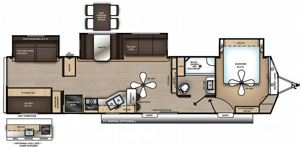 Catalina Destination 40BHTS Floor Plan - 2021