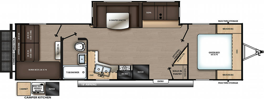 Catalina Legacy Edition 303QBCK Floor Plan - 2021