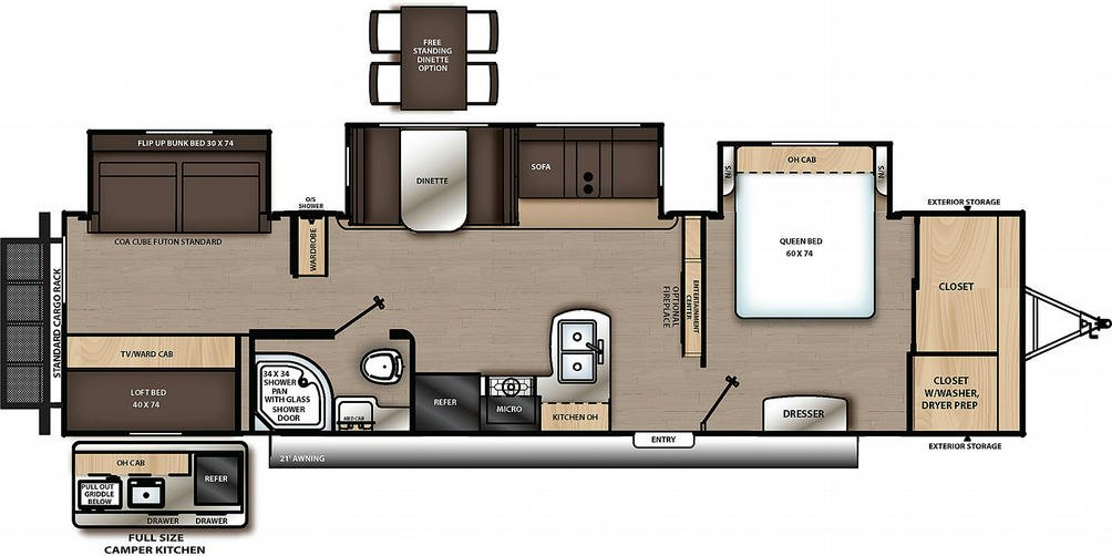 Catalina Legacy Edition 343BHTS Floor Plan - 2021