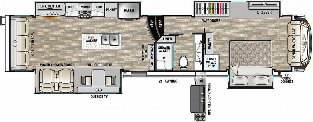 Cedar Creek Champagne 38EBS Floor Plan - 2021