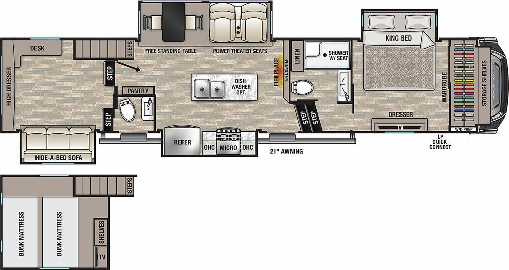 Cedar Creek 355LF Floor Plan - 2021