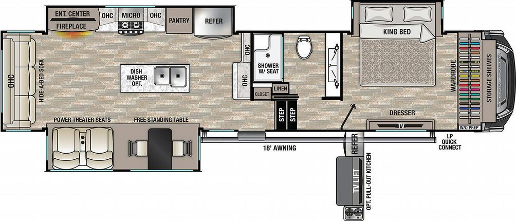 Cedar Creek 360RL Floor Plan - 2021