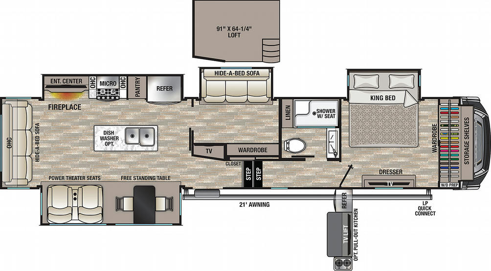 Cedar Creek 377BH Floor Plan - 2021