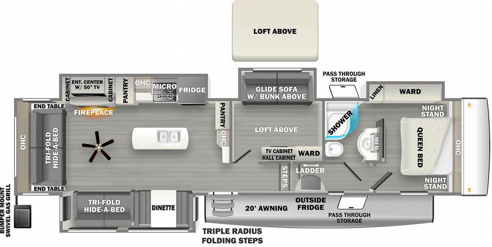 Sandpiper C Class 3660MB Floor Plan - 2021