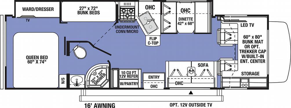 Sunseeker 3270S FORD Floor Plan - 2021