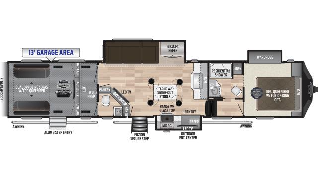 2020 Fuzion 427 Floor Plan