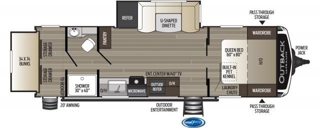 2020 Outback Ultra Lite 261UBH Floor Plan