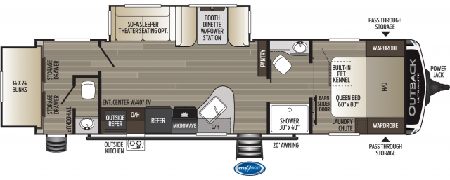 2020 Outback Ultra Lite 301UBH Floor Plan