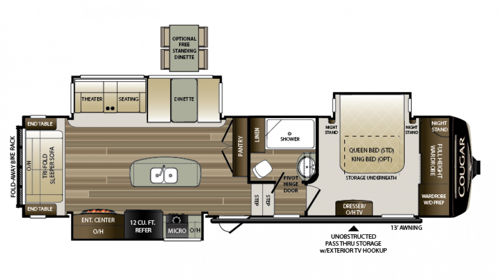 2018 Cougar 310RLS Floor Plan