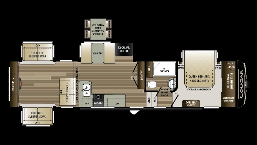 2018 Cougar 366RDS Floor Plan Img