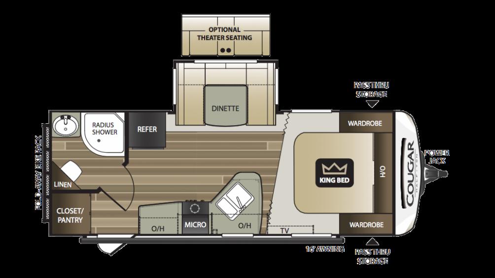 2018 Cougar Half Ton 22RBS Floor Plan