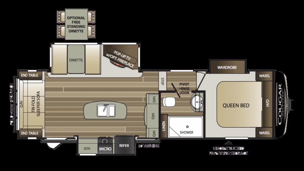 2018 Cougar Half Ton 27RLS Floor Plan Img