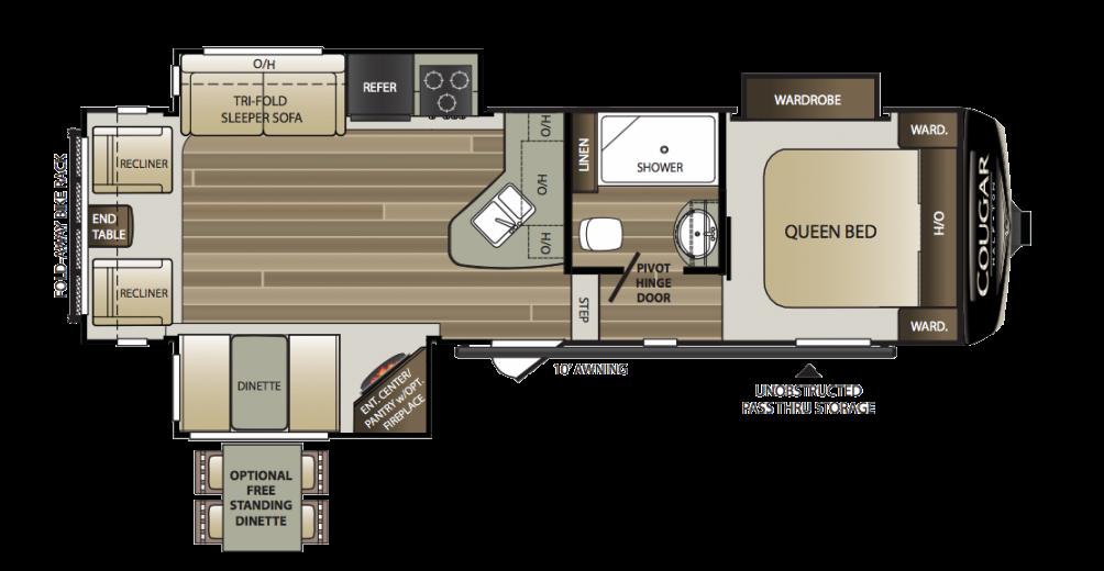 2018 Cougar Half Ton 28SGS Floor Plan