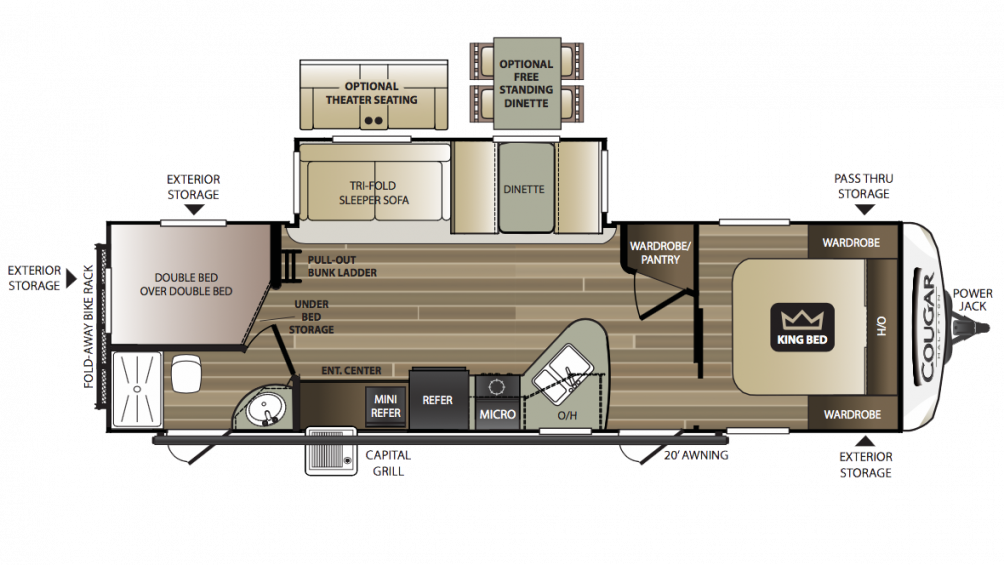 2018 Cougar Half Ton 29BHS Floor Plan Img