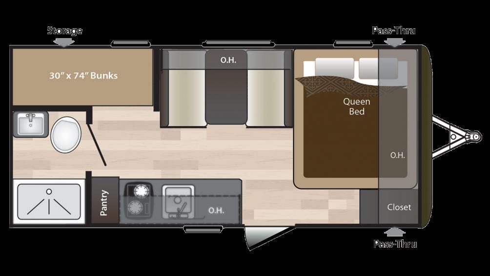 2018 Hideout 175LHS Floor Plan