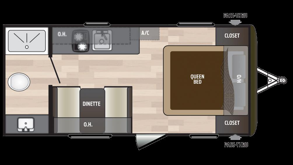 2018 Hideout 178LHS Floor Plan Img