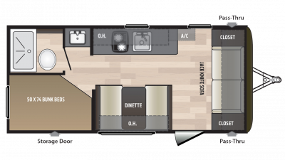 2018 Hideout 185LHS Floor Plan